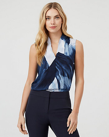 Abstract Print Shiny Twill Built-Up Neck Blouse