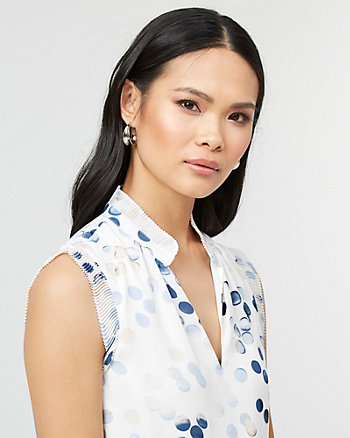 Dot Print Crêpe de Chine V-Neck Blouse