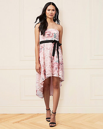 Floral Print Corded Lace Strapless Dress