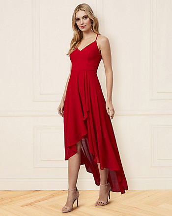 Chiffon V-Neck High-Low Dress