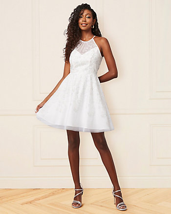 Sparkle Knit & Mesh Illusion Party Dress
