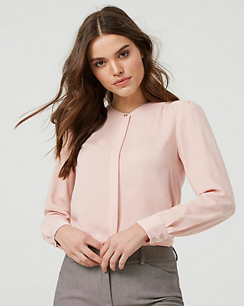 Button-Front Crew Neck Blouse