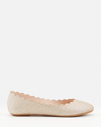 Scalloped Faux Suede Pointy Toe Flat