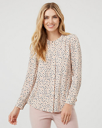 Dot Print Button-Front Crew Neck Blouse