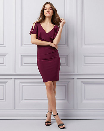 Knit Wrap-Like Flutter Sleeve Dress