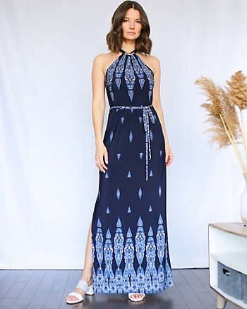 Ornamental Print Halter Neck Dress