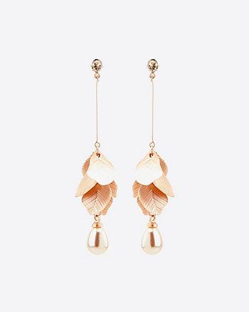 Floral & Pearl-Like Drop Earrings