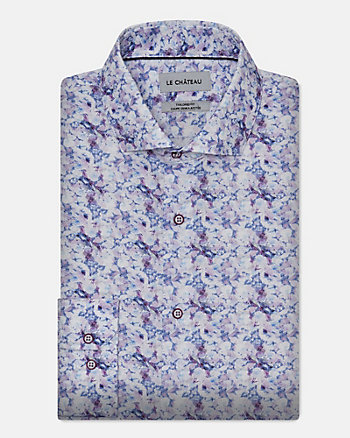 Floral Print Stretch Cotton Poplin Shirt