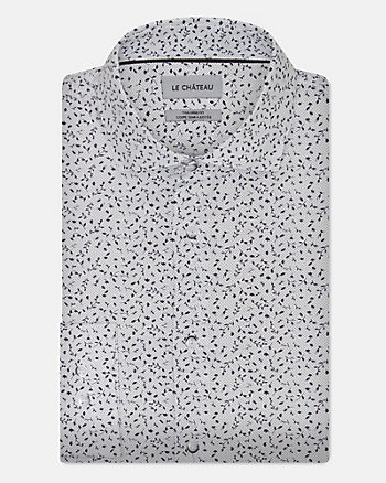 50's Print Stretch Cotton Poplin Shirt