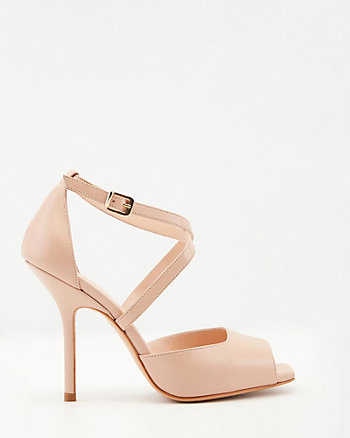 Italian-Made Leather Square Toe Sandal