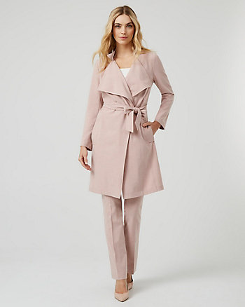 Belted Viscose Blend Trench Coat