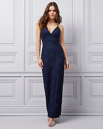 Lace Deep-V Open-Back Gown