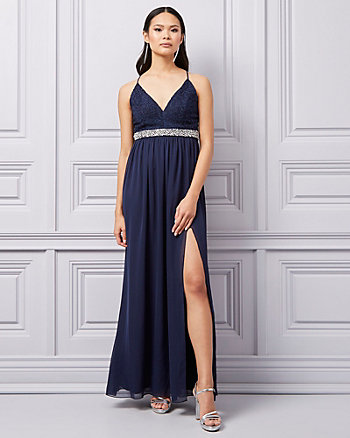 Lace & Chiffon Deep-V Gown