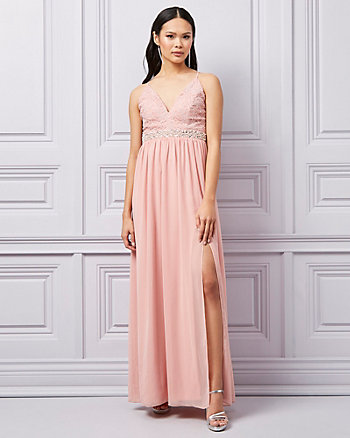 Lace & Chiffon Deep-V Gown