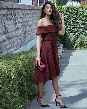 Lace Off-the-Shoulder High-Low Dress