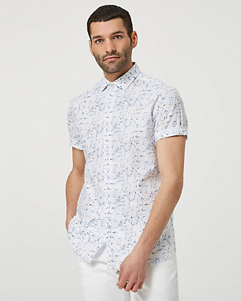 Abstract Print Cotton Short Sleeve Shirt