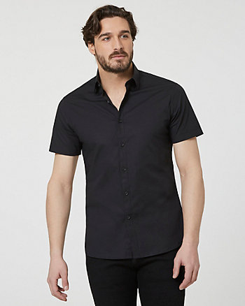 Stretch Cotton Poplin Short Sleeve Shirt