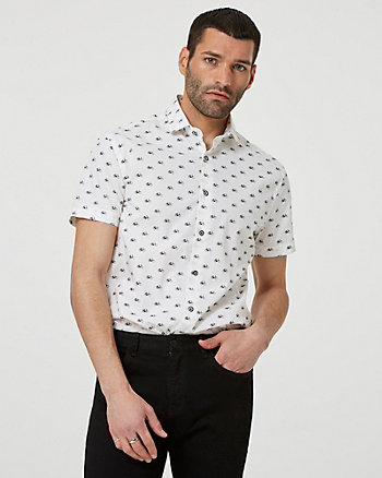 Bicycle Print Cotton Short Sleeve Shirt