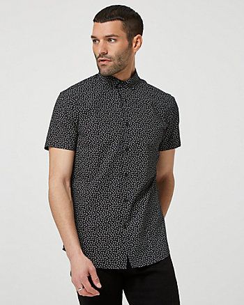 Airplane Print Cotton Short Sleeve Shirt