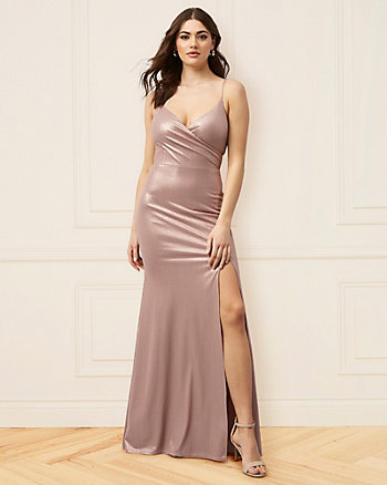 Metallic Knit V-Neck Gown