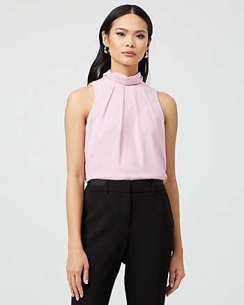 Chiffon Mock Neck Sleeveless Blouse