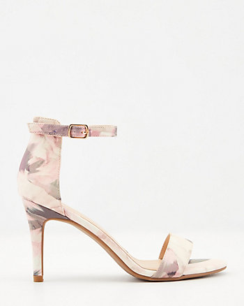 Floral Print Faux Leather Sandal