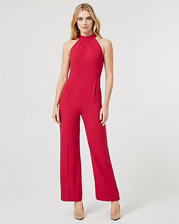 Satin Halter Neck Wide Leg Jumpsuit