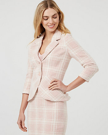 Check Print Double Knit Notch Collar Blazer