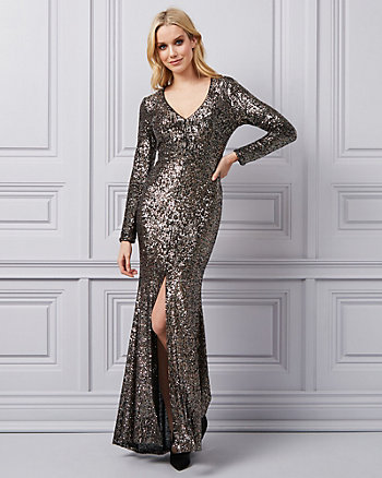 Stretch Sequin V-Neck Gown