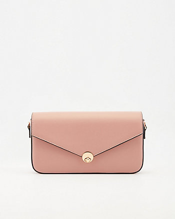 Faux Leather Flapover Crossbody Bag