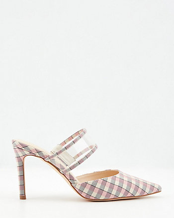 Check Print Pointy Toe Mule