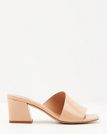 Patent Faux Leather Square Toe Slide Sandal