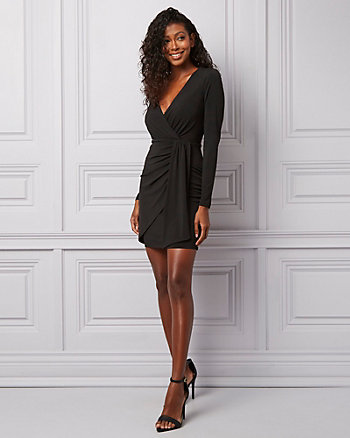 Knit Wrap-Like V-Neck Dress