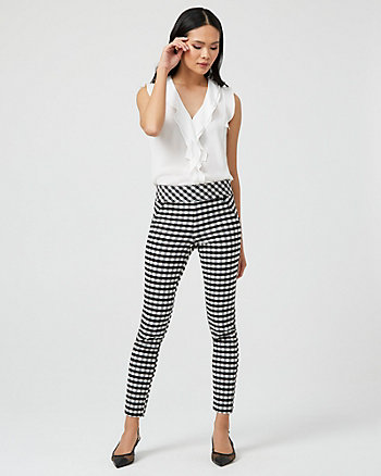 Pantalon moulant à motif de carreaux