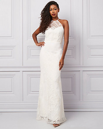 Embroidered Lace Illusion Halter Neck Gown