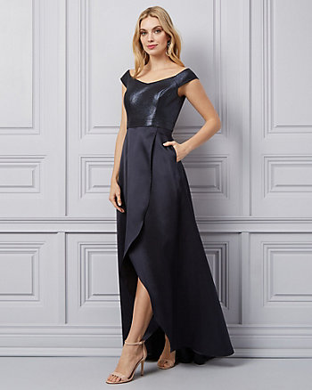 Foil Knit Off-the-Shoulder Gown