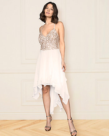 Embroidered Sequin & Chiffon V-Neck Dress