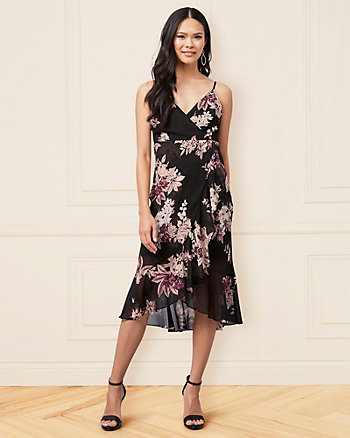 Floral Print Chiffon V-Neck High-Low Dress