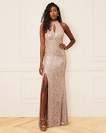 Sequin Mock Neck Gown