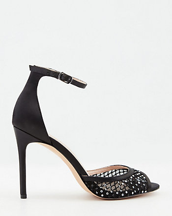 Jewel Embellished Mesh & Satin Sandal