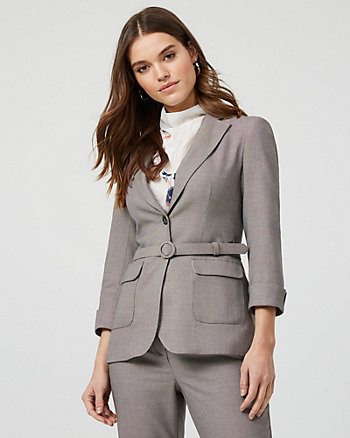 Birdseye Notch Collar Button-Front Blazer