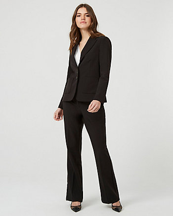 Notch Collar Button-Front Blazer