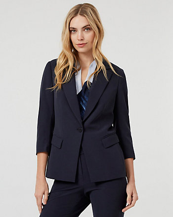 Bi-Stretch Notch Collar Button-Front Blazer