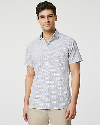 Geo Print Cotton Poplin Short Sleeve Shirt