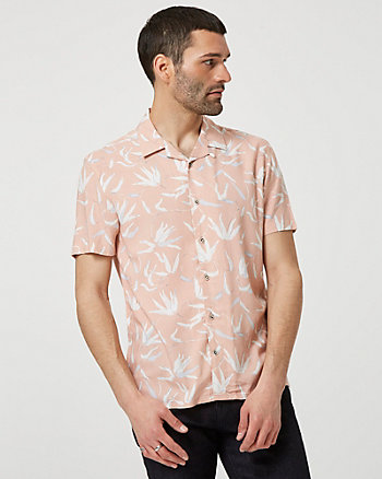 Tropical Print Viscose Short Sleeve Shirt