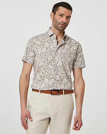 Tropical Print Cotton Short Sleeve Shirt