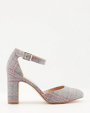 Check Print Almond Toe Ankle Strap Pump