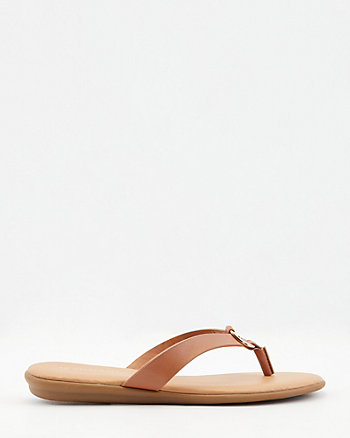 Faux Leather Flip Flop Sandal