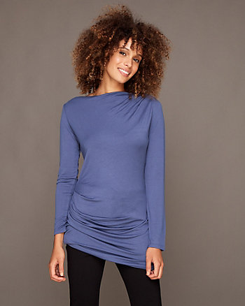 Knit Boat Neck Tunic Top