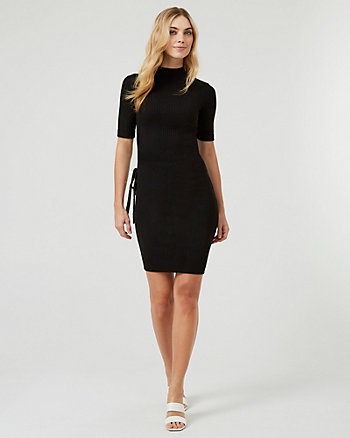 Rib Knit Mock Neck Sweater Dress